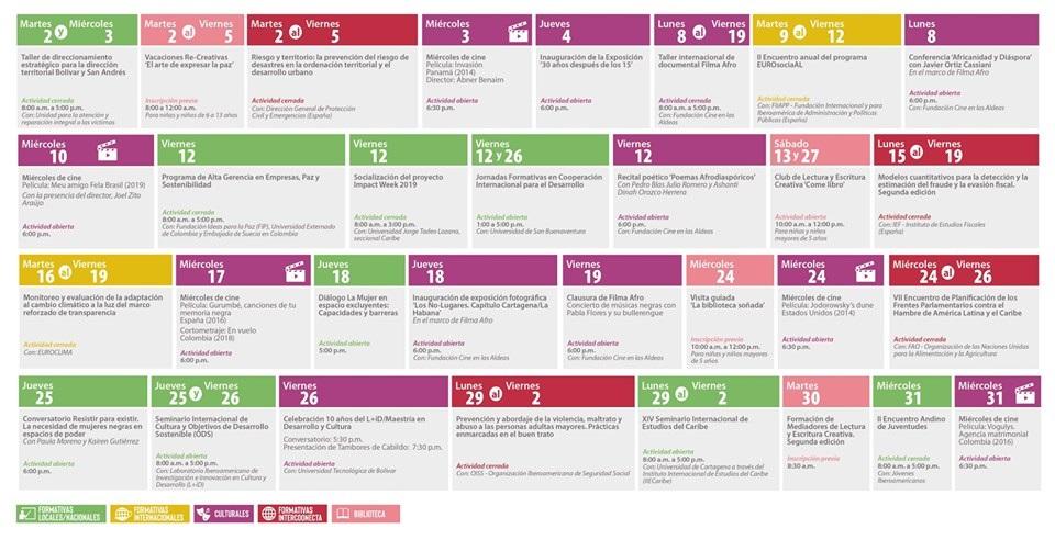 programación cultural para julio del Centro de Formación de la Cooperación Española en Cartagena