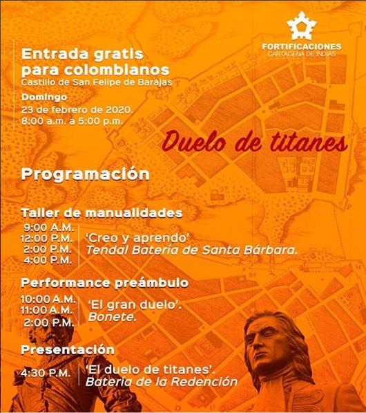 Afiche de día de ingreso gratis al Castillo de San Felipe en Cartagena de Indias