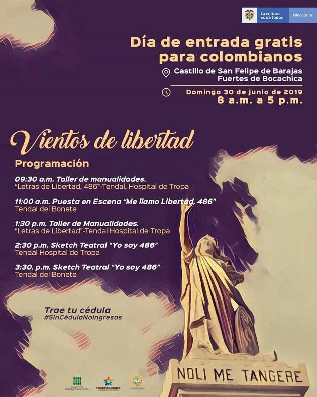 Flyer día de entrada gratis al Castillo de San Felipe en Cartagena
