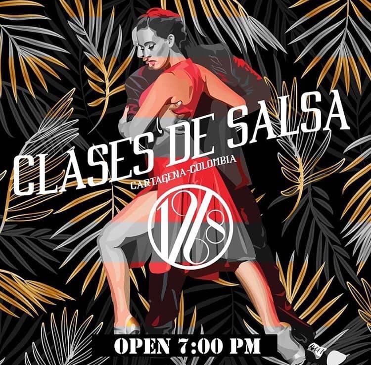 afiche de clases de salsa en Cartagena de Indias con 1968 Salsa Show