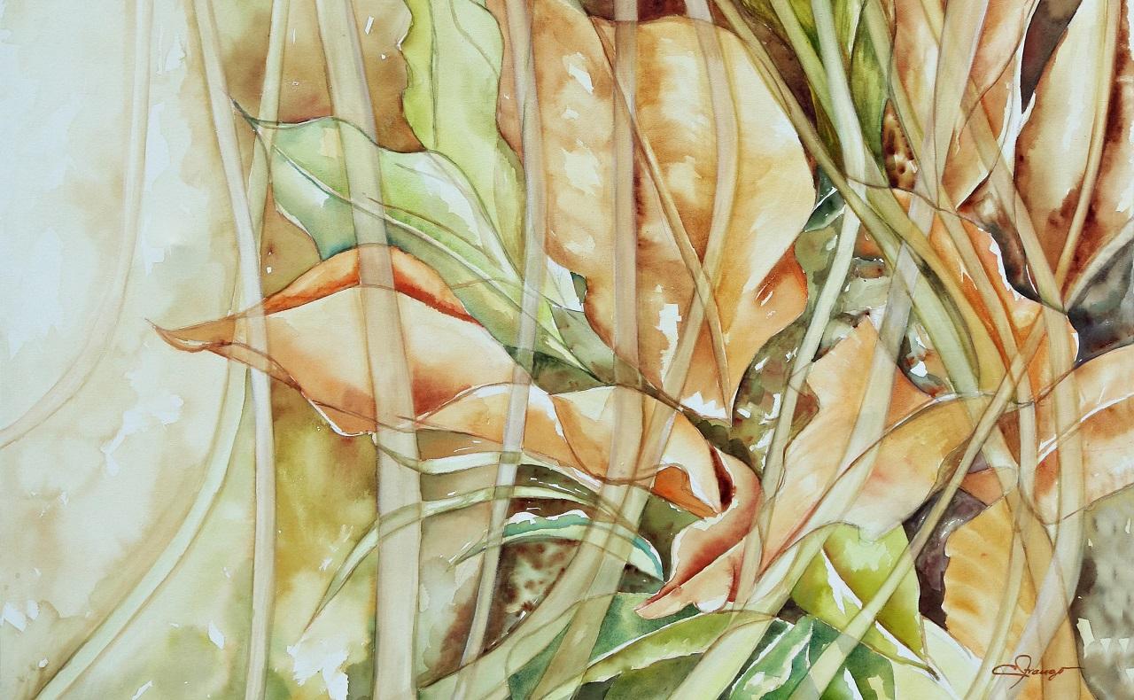 Pintura en acuarela sobre lienzo de Connie Arango, exoposición de arte en Cartagena