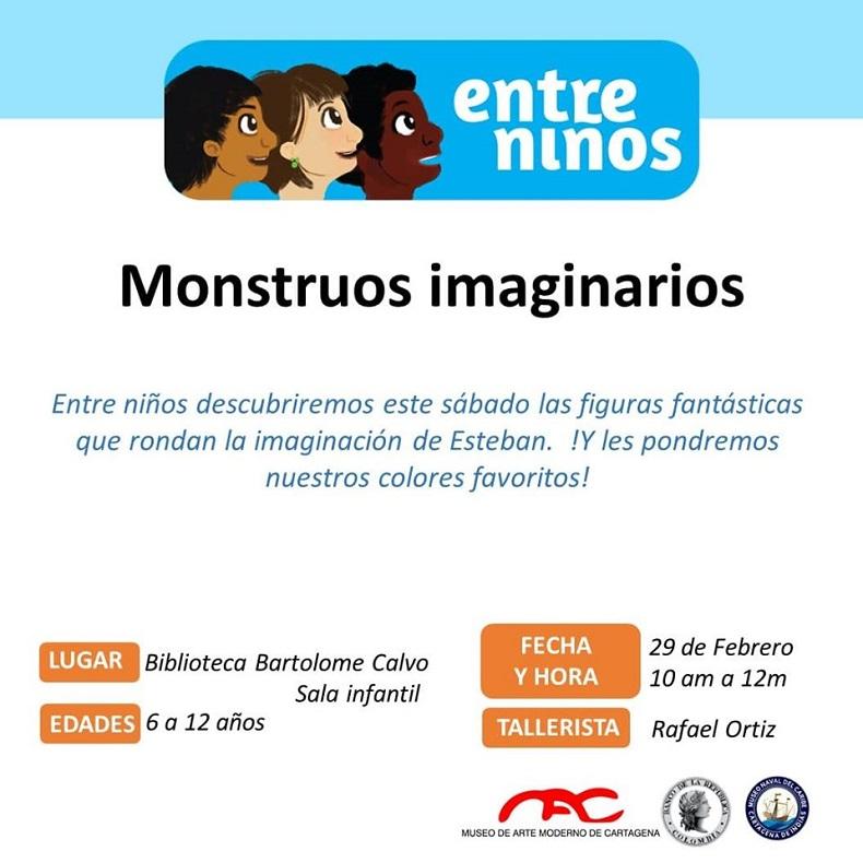 Afiche de taller de lectura para niños en Cartagena de Indias