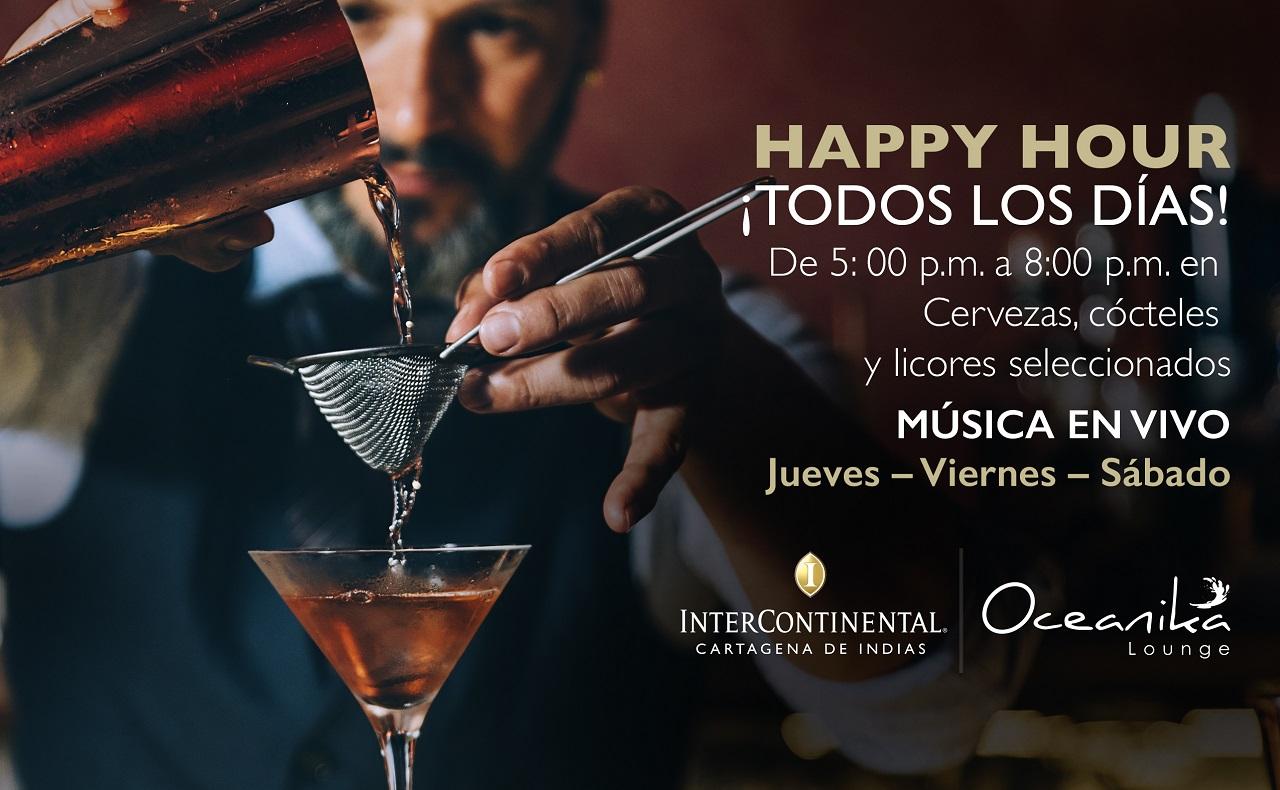 Flyer happy hour en Cartagena en el bar oceanika lounge del hotel intercontinental de Cartagena