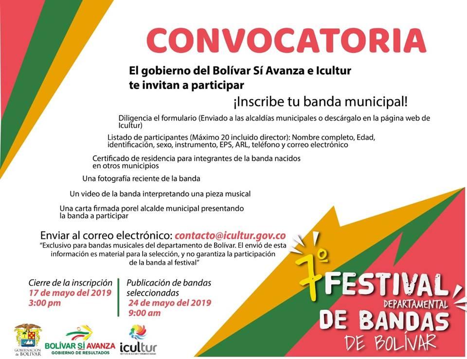 Imagen promocional Icultur convocatoria festival de bandas bolívar