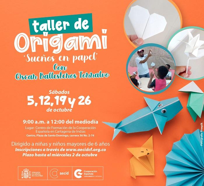 Taller de Origami en el Centro de Formación de la Cooperación Española, talleres para niños en Cartagena de Indias