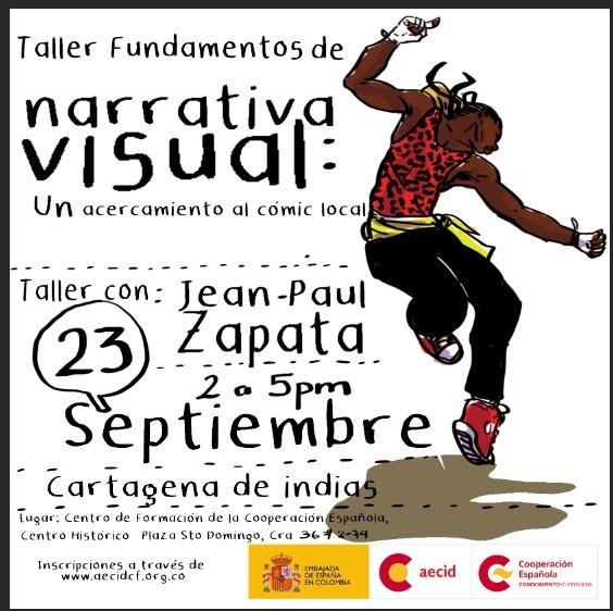 Afiche de taller de cómics, imagen para ilustrar nota sobre Taller en la Cooperación Española de Cartagena
