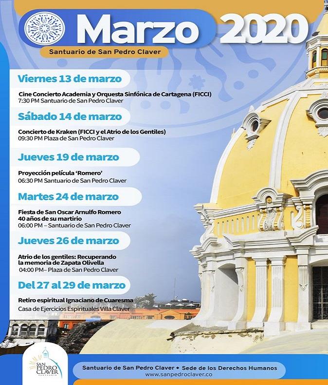 Afiche programación marzo 2020 en el Santuario de San Pedro Claver en Cartagena