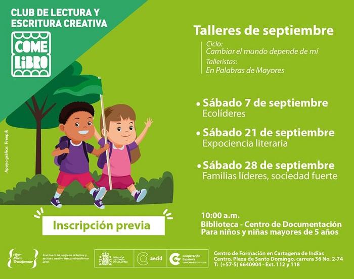 Afiche talleres para niños en Cartagena con la Cooperación Española