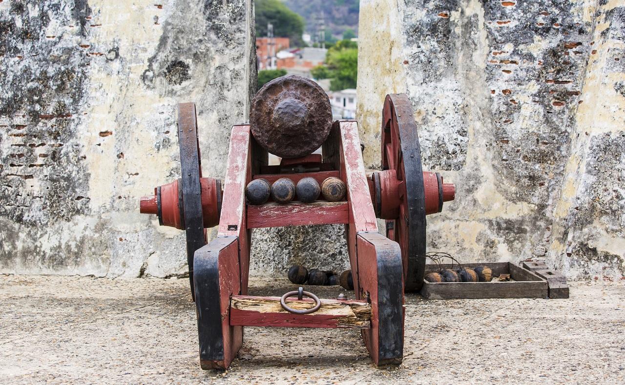 Cañón del Castillo de San Felipe en Cartagena