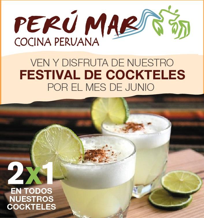 Flyer Perú Mar cocina peruana en Cartagena 2x1 en cócteles