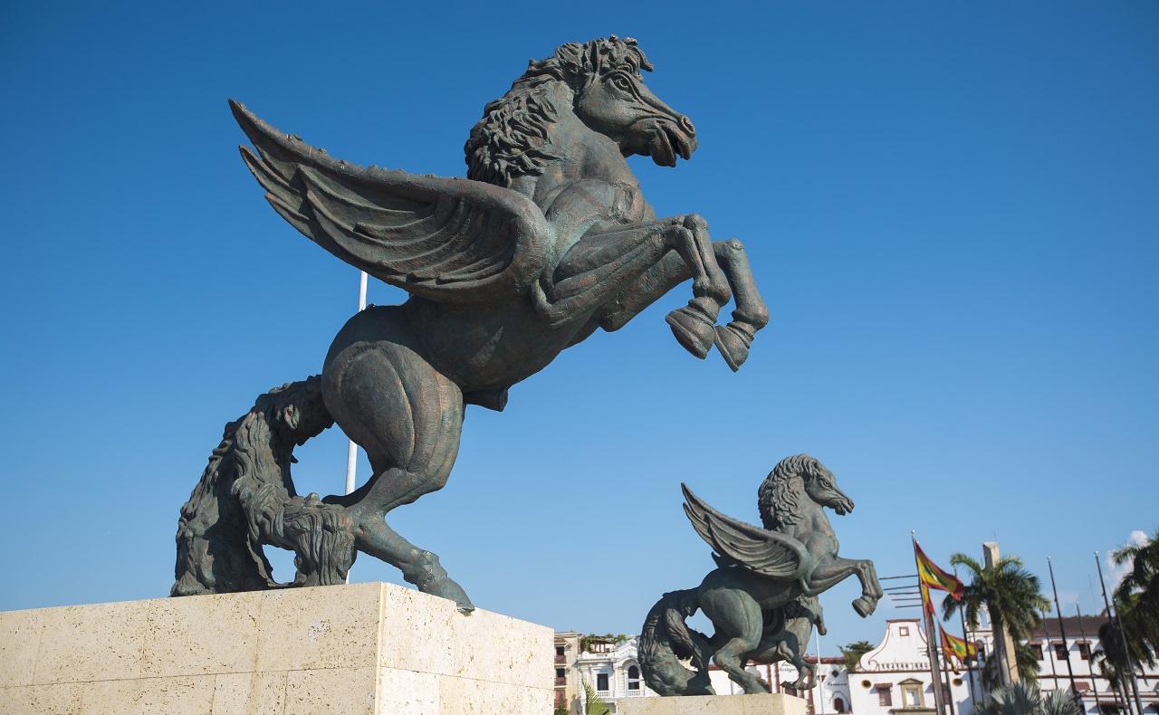 Monumento de Los Pegasos en Cartagena de Indias