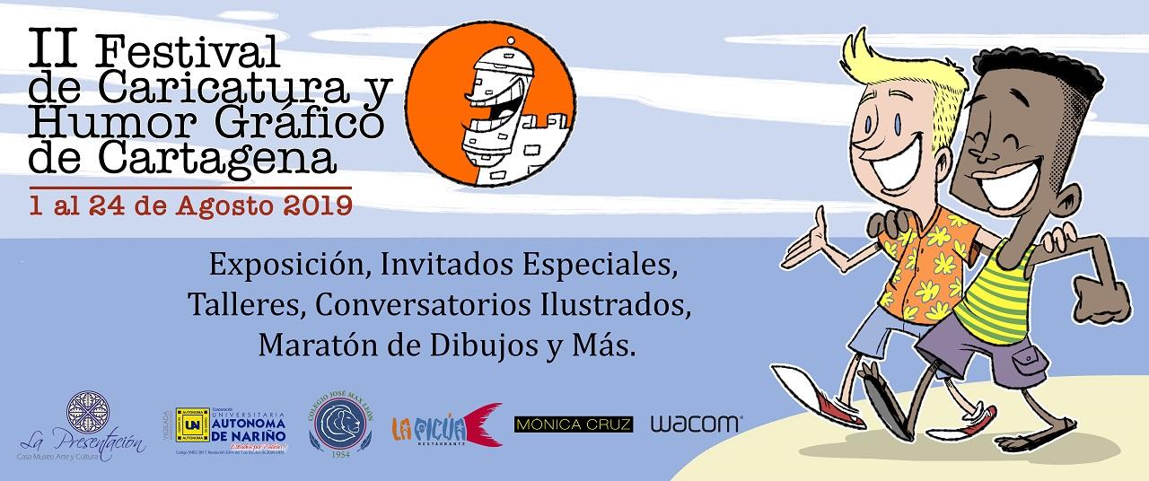 Poster del II Festival de Caricatura y Humor Gráfico de Cartagena, imagen para ilustrar talleres culturales en La Presentación