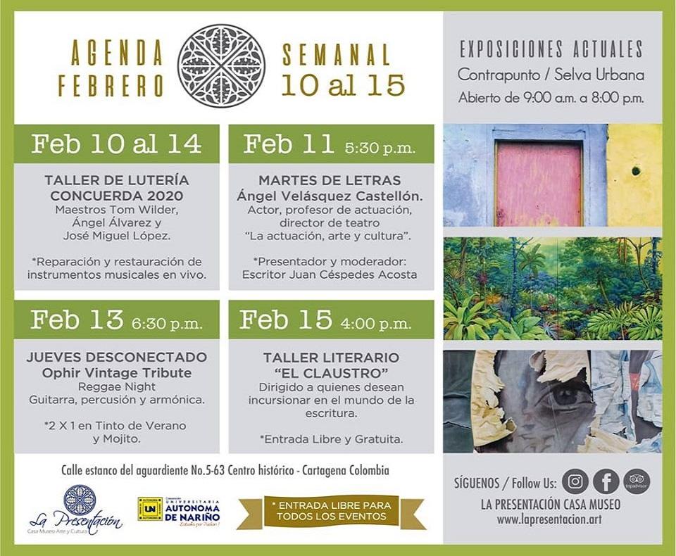 Programación cultural de febrero en La Presentación Casa Museo de Cartagena de Indias