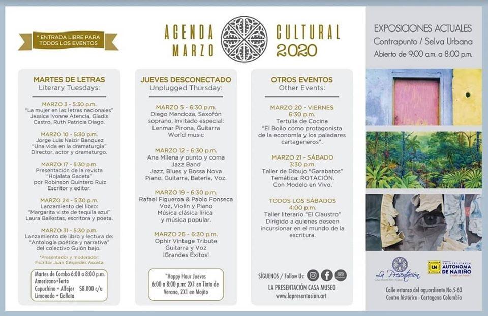 agenda de marzo 2020 en La Presentación Casa Museo de Cartagena