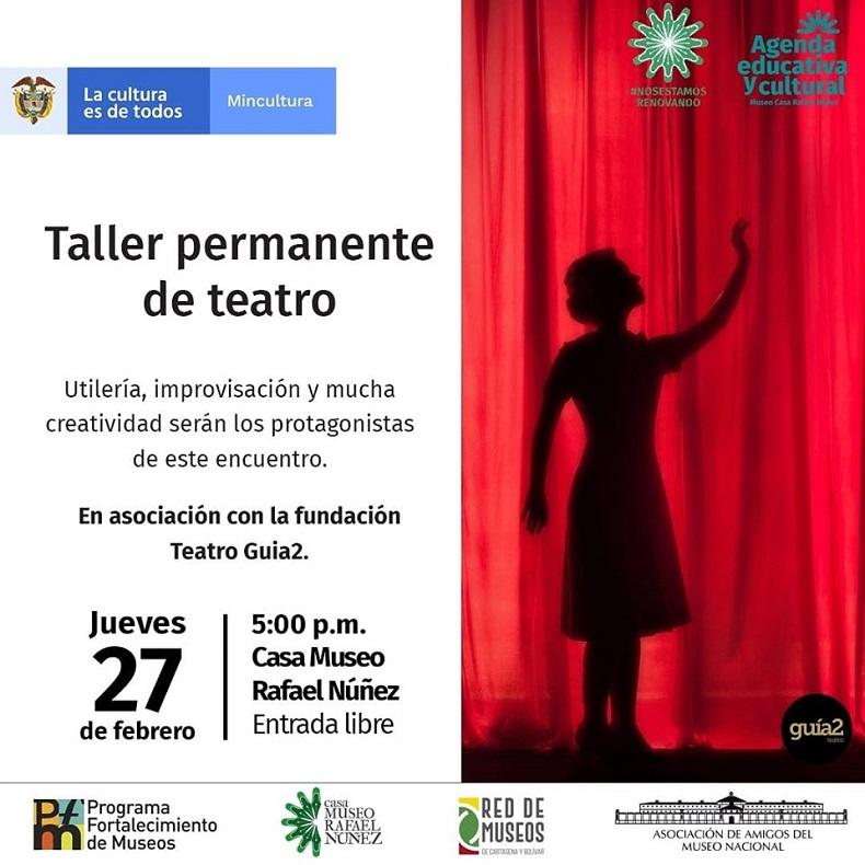 Afiche taller de teatro en Cartagena de Indias