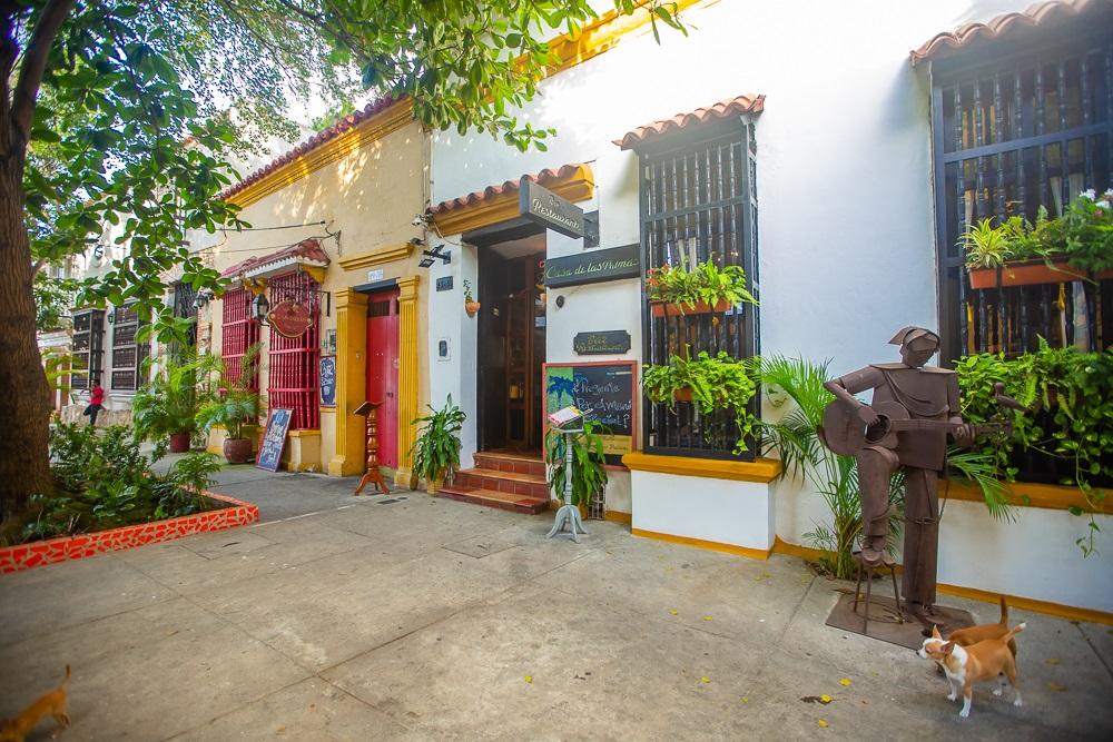 Fachada Casa de las Palmas en el barrio Getsemaní de Cartagena, imagen para ilustrar nota de hoteles en Cartagena