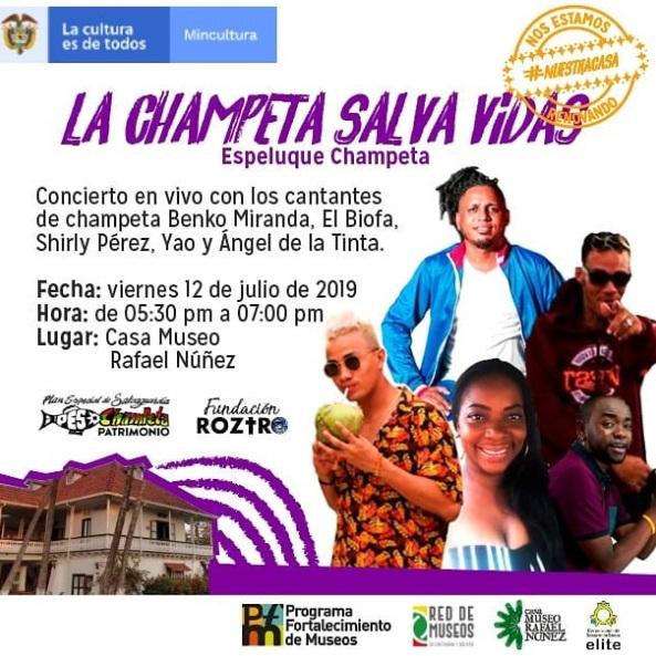 Flyer concierto de champeta en la Casa Museo Rafael Núñez