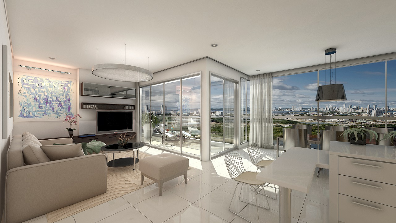 Sala con vista panorámica de apto en Condominio Napoli Cartagena para ilustrar notas de los proyectos inmobiliarios en Cartagena