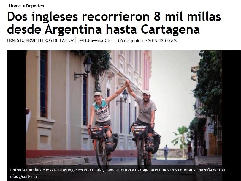 pantallazo de nota en el sitio web de EU sobre ingleses que viajaron desde Argentina hasta Cartagena en bicicleta