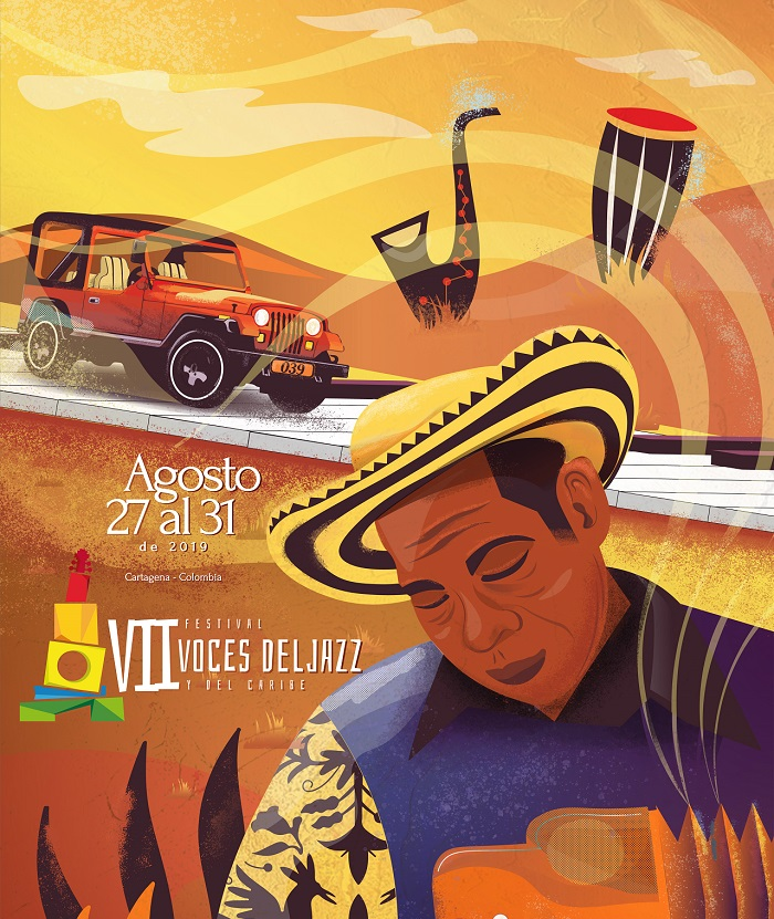 Afiche promocional VII festival voces del jazz y del caribe