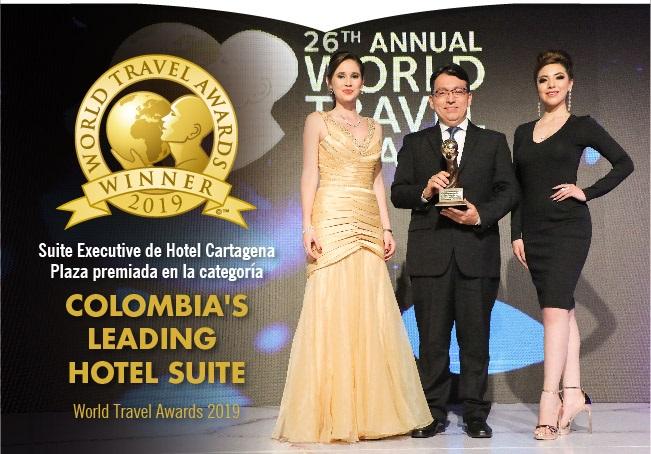 Premiación al Hotel Cartagena Plaza en los World Travel Awards 2019, imagen para ilustrar nota de Principal Destino de Sudamérica 2019