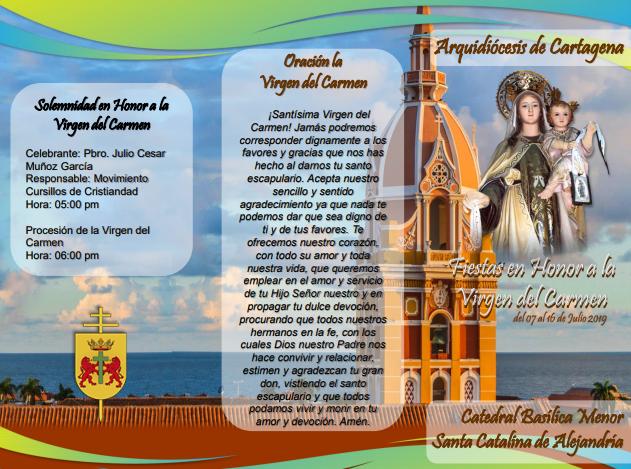 folleto religioso fiestas de la Virgen del Carmen 2019 en la Catedral Santa Catalina de Alejandría en Cartagena de Indias