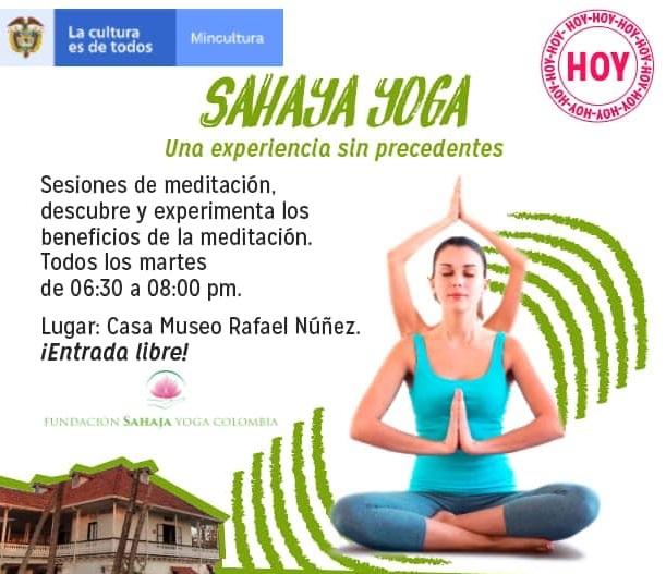 Afiche de taller de yoga en Cartagena con la Casa Museo Rafael Núñez