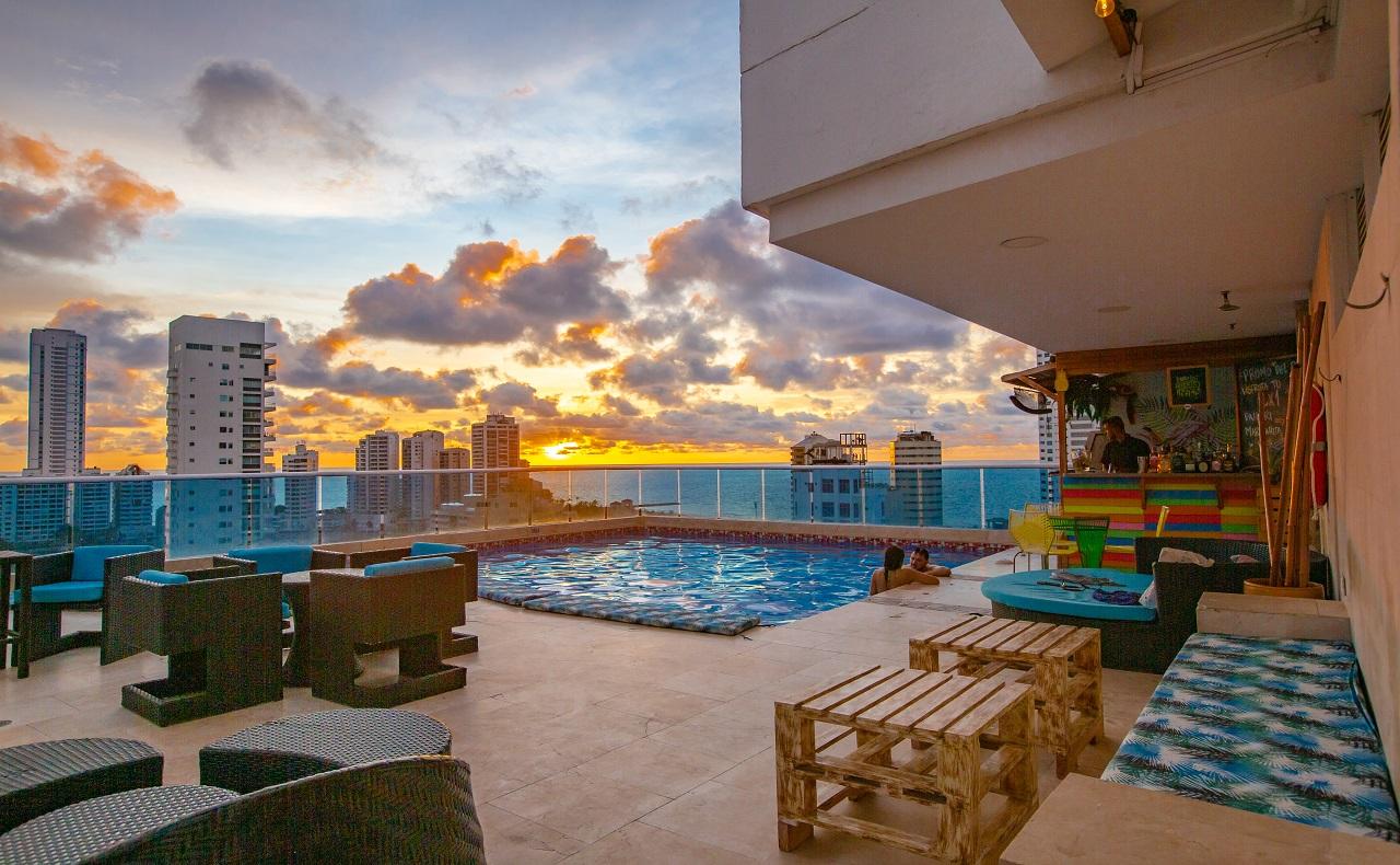 Terraza del Hotel La Gran Vía, imagen para ilustrar nota de fiestas de fin de año en Cartagena de Indias