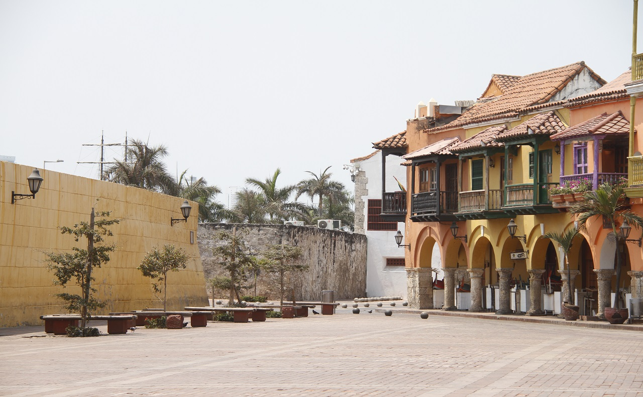 centro histórico de cartagena de indias durante cuarentena preventiva