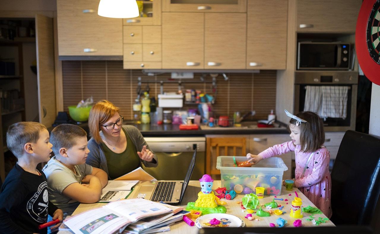 familia compartiendo actividades educativas durante el periodo de confinamiento por coronavirus - EFE/EPA/Attila Balazs HUNGARY OUT