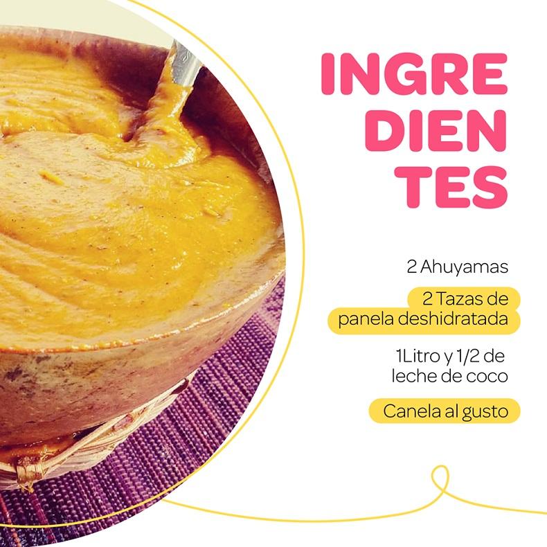 Festival del dulce, Arequipe de ahuyama ingredientes