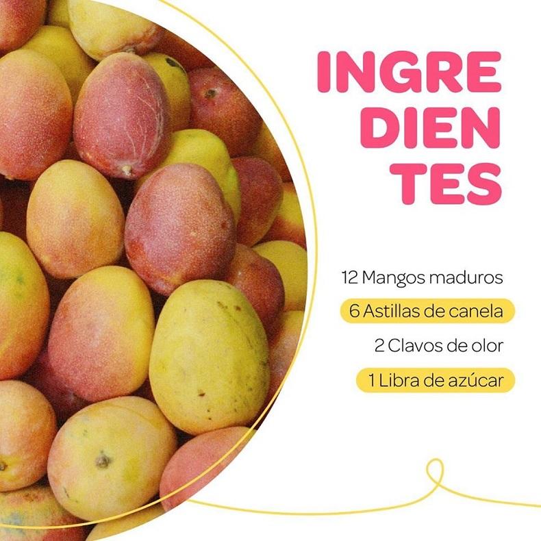 Festival del dulce, Dulce e' mango maduro ingredientes